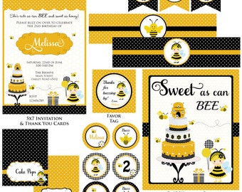 Customized Bumble Bee Printable Birthday Invitation and Party Kit
