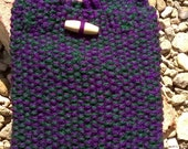 Purple and green knitted pouch bag. *SALE*