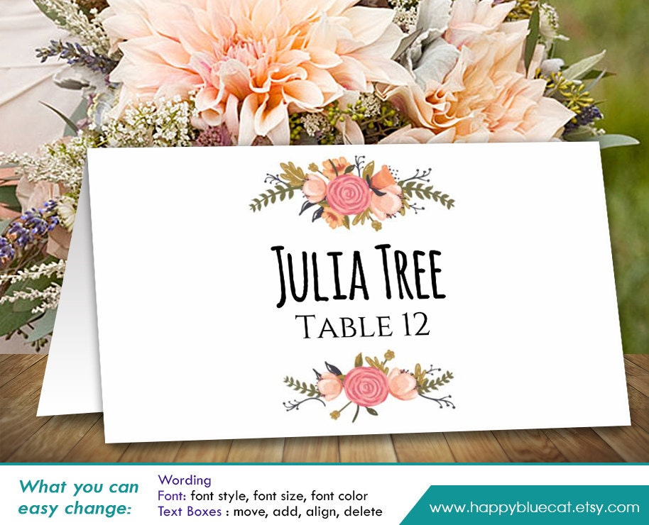 Peaceful image in free printable wedding place cards