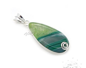 1 pcs Silver Plated Green Agate Pendant, Teardrop Shape, Natural Gemstone, Total Size 53x20mm