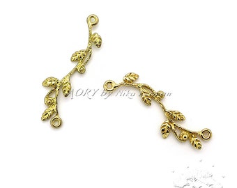 1pcs Brass Branch/Twig Connector/Link, Top Quality, Made in Israel, with 2 loops, Length 30mm, 2344BR, Shiny Brass Color