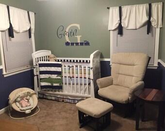 Boys Nursery, Nursery Window Treatments, Window Valance, Tie Up Valance, White and Navy Blue Valance