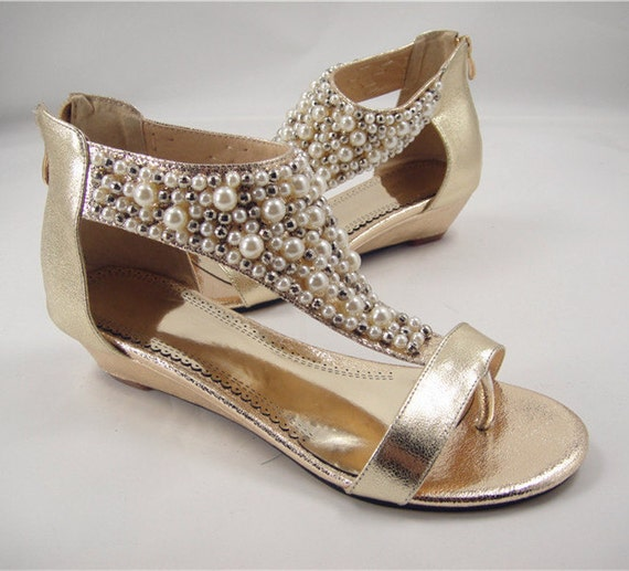 Pearl bridal shoes pearls sandals wedge wedding by lacenbling for Gold dress shoes for wedding