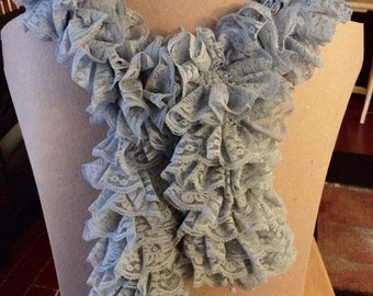 Grey Lace Ruffle Scarf