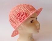 Crochet girls sun hat, lightweight hat, Girls summer hat, cotton - linen hat, Size 3-5 years - Ready to ship