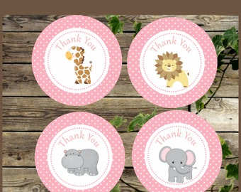 Pink Safari Printable Favor Tags / Instant download Baby Shower Favor Stickers / Safari Girl Bairthday Party Circles / Cupcake Toppers