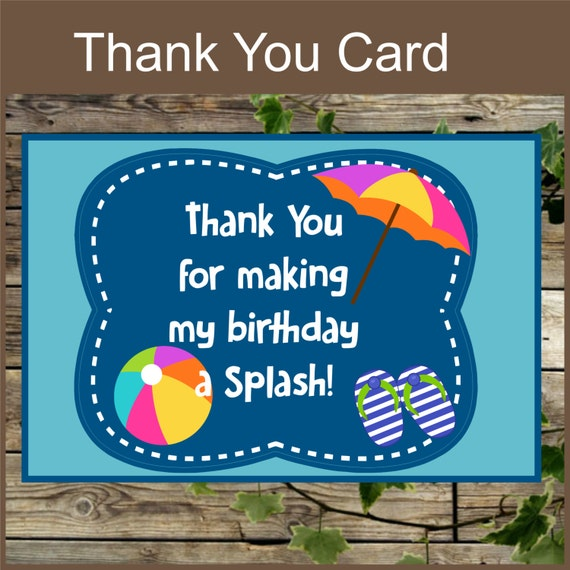 Pool Party Printable Thank You Card Instant Download Swimming