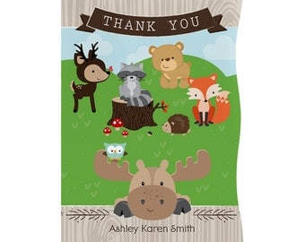 Set of 12 - Woodland Creatures Thank You Cards - Custom Baby Shower and Birthday Party Supplies