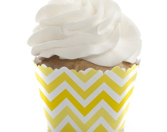 Chevron Yellow Cupcake Wrappers - Baby Shower, Birthday Party, or Bridal Shower Party Cupcake Decorations - Set of 12