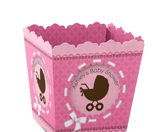 Baby Girl Carriage Custom Small Candy Boxes - Personalized Baby Shower Party Supplies - Set of 12