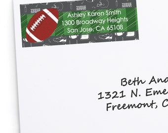 Football Address Labels - Personalized Return Address Sticker - 30 Count