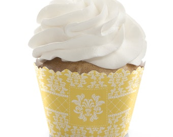 Bridal Shower Cupcake Wrappers - Bachelorette Party Cupcake Decorations - Damask Yellow Cupcake Supplies - 12 Cupcake Liners