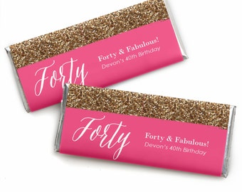 Chic 40th Birthday - Pink  and Gold - Custom Candy Bar Wrappers - Personalized Birthday Party Favors - Set of 24