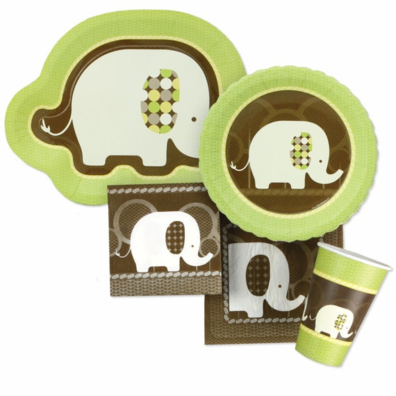 elephant tableware kit baby shower or birthday party plates and