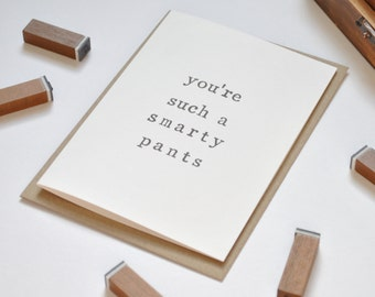 You're such a smarty pants - Congratulations Card - Clever Cogs Card - Congrats Card - Graduation Card - New Job Card