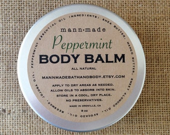 Peppermint Body Balm - made with Shea & Mango Butter, All Natural, 8oz