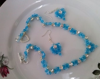 Crystal heart light blue beadwiving necklace glass crystal matching chain earrings