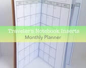 Monthly Planner -- No Grid {Teeny Tiny/Micro Size} Traveler's Notebook Insert Booklet // Choose Cover & Paper Colors!