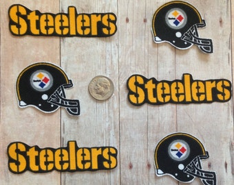 Handmade Iron On Appliques Pittsburgh Steelers Logo Cotton Fabric 6 Piece Set