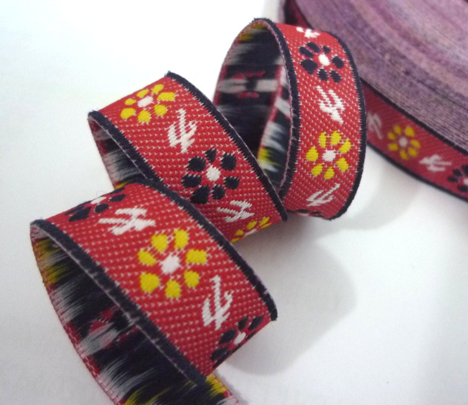 Red tone flower woven jacquard ribbon trim clothing crafts for Craft ribbons and trims