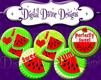 I Love Watermelon - 1 inch round digital graphics - Instant Download