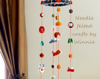Japanese hanging mobile handmade needle felted OOAK Tsurushi bina mobile