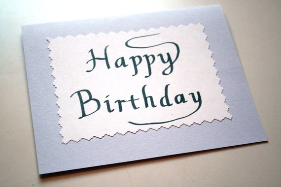 Birthday Card Simple Elegant Hand Lettered Calligraphy
