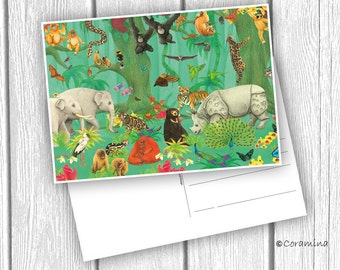 "Postcard ""indian jungle"" limited edition"