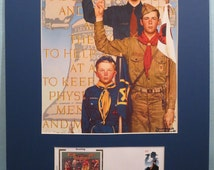 Norman Rockwell's painting of Cub Scouts, Boy Scouts and Explorers & First Day Cover of the 100th Anniversary of the Boy Scouts  Stamp