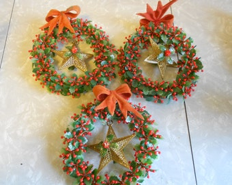 Vinatge Christmas Holly and Berry Holiday Wreaths