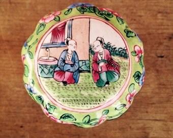 Vintage Ring Box  Enamel Lidded Box with Oriental Figures