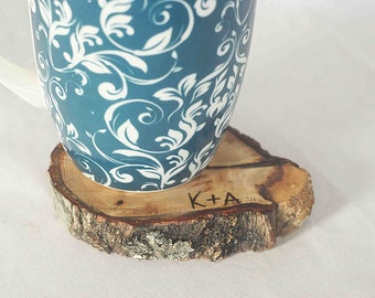 coaster - initial wood burning - set of 4 pieces rustic oak coasters. oak tree. rustic coasters