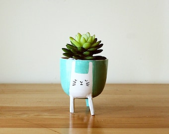 Made to order: Three-legged Rabbit Planter in Aqua