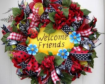 Deco Mesh- Summer Wreath- Front Door Wreaths- Deco Mesh Wreath