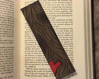 Red Heart Wood Grain Leather Bookmark
