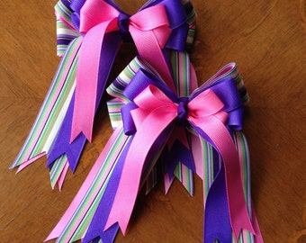 Horse show bows/equestrian clothing/purple pink hair accessory
