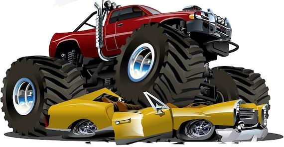 6 Monster Truck 4x4 3 Crushing Car Cartoon Wall By