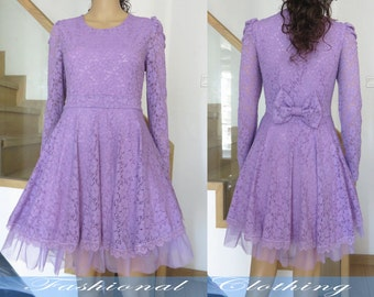 purple lace dress spring autumn dress women clothing long sleeve dress lace dress slim fit party dress