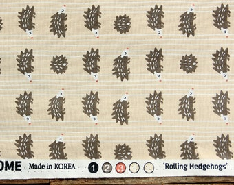 Cute hedgehogs Pattern Cotton Fabric by Yard