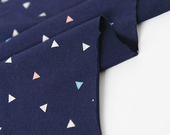 Cute Little Triangle Pattern Cotton Knit Fabric by Yard (Navy Color)