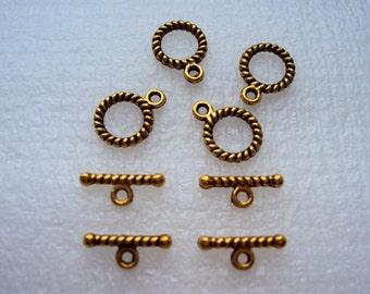 4pcs dark gold tone spiral shape toogle claps