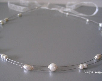 pearl bridal hair headband ivory wedding headpiece