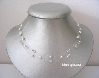 Wedding necklace wedding jewelry 3 transparent ranks ivory pearls and clear crystal