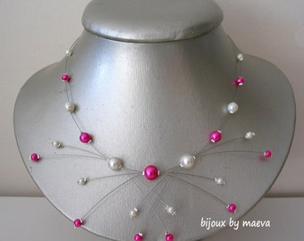 "Wedding bridal costume jewelry necklace fuchsia and ivory pearls ""sparks"""