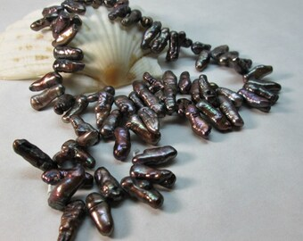 Bronze Freshwater Pearl Stick Beads