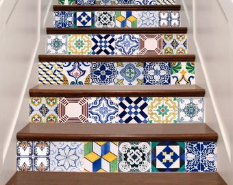 Handmade stair decals etsy - Stickers imitation carrelage ...