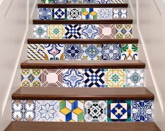 Handmade stair decals etsy - Carrelage autocollant cuisine ...