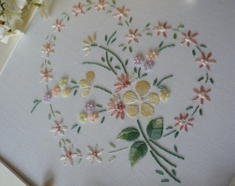 Transfered Embroidery Kit 'Sophie' (Lemon) Lovely Sampler! : Beautiful Kits By Maggie Gee