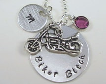 Biker Necklace Motorcycle Necklace Style hand stamped necklace Hand Stamped Jewelry Hand Stamped Biker Bitch