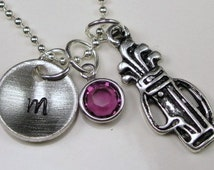 Golf Golfer Necklace Initial Necklace Necklace Personalized Necklace  Golf gift